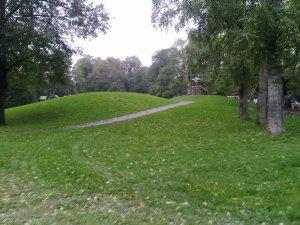 un parc cu dealuri si vai